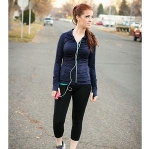 Albion Fit Ruched Navy Hoodie